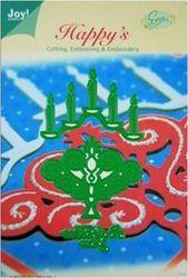 Joy Crafts snij- embos- en borduurmal 3 stuks kandelaar en tekst God Bless You 6002/2007 (Locatie: i507 )