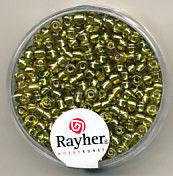 Rayher rocailles 2 mm geel met zilverdetail 17 gr. 1406411 (Locatie: K3)