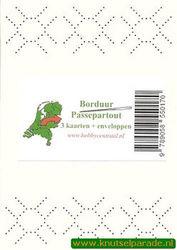 Hobbycentraal 3 borduurkaarten en enveloppen wit, geblokte rand (Locatie: K157)