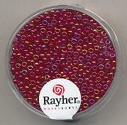 Rayher rocailles 2 mm transp. donkerrood 17 gr. 1406119 (Locatie: K3)