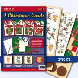 Doodey kaartenpakket om 4 kerstkaarten te maken ZV90173 (Locatie: 4424)