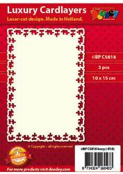 Doodey luxe oplegkaart met puzzelstukjesrand 3 stuks ivoor BPC5818 (Locatie: K035)
