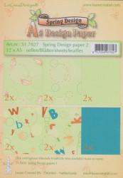 Le Crea Design, design paper, Green tones, A5 51.9258(Locatie: S2)