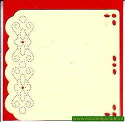 Luxe oplegkaart met borduurpatroon 3 stuks ivoor BEM5907 (Locatie: K081 )