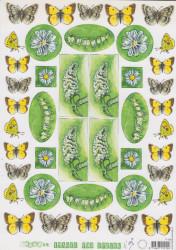 Mariannde Design knipvel bloemen en vlinders IT429 (Locatie: 2536)