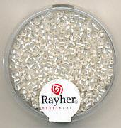 Rayher rocailles 2 mm wit met zilverdetail 17 gr. 1406422 (Locatie: K3)