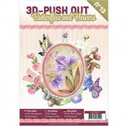 Stansboek Butterflies and Flowers, 24 afbeeldingen en 8 designpapier, 3DPO10013 (Locatie: 0938)