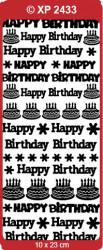 Stickervel verjaardag Happy Birthday blauw glitter XP2433 (Locatie: F023)