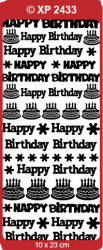 Stickervel verjaardag Happy Birthday blauw holografisch XP2433 (Locatie: F023)