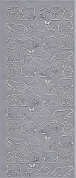 Stickervel zilver dieren (Locatie: j544)