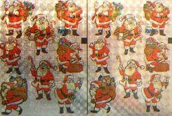 Holografische knipstickers kerstman 5 vel 032 (Locatie: Q001 )