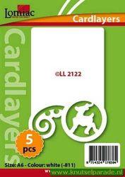 Lomiac oplegkaarten kerstkrul en rendier ivoor 5 stuks LL 2122 (Locatie: N096 )
