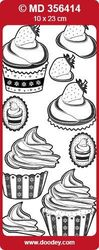 Doodey double embossed stickers Cupcakes Zilver MD356414 (Locatie: A270 )