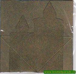 Mireille kaart metallic groen kaars 3 stuks met envelop (Locatie: L68 )