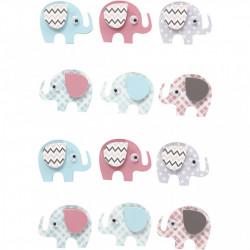 3D stickers, h: 25 mm, b: 31 mm, olifanten, 12 stuks, dikte 7 mm (Locatie: 2639)