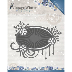 Amy Design snijmal Vintage Winter - Snowflake Swirl Label ADD10124 (Locatie: M031)