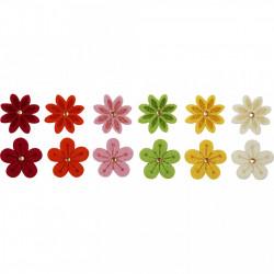 Bloemen van vilt met strassteen, 12stuks (Locatie: K3)
