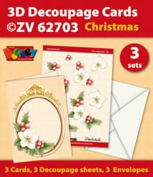 Doodey kaartenpakket om 3 kerstkaarten te maken ZV62703 (Locatie: 4428)