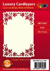 Doodey oplegkaarten blaadjes A6 ivoor 3 stuks BPC5837 (Locatie: K062)