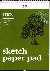 Eco-schetsblok, A4 21 x 30 cm, 100 gr, 25vellen (Locatie: KB)