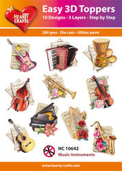 Hearty Crafts Easy 3D Toppers Music Instruments HC10642 (Locatie: K2)