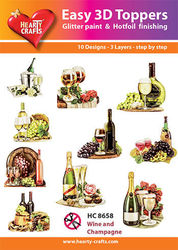 Hearty Crafts Easy 3D Toppers Wine and Champagne HC8658 (Locatie: K2)