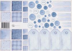 Knipvel Marjoleine Labels en knopen blauw (Locatie: 2571)