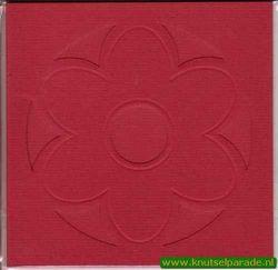 Lomiac dubbele kaart rood met bloem 3 stuks LC3101 (Locatie: Y023 )