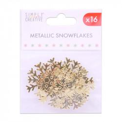 Simply Creative metallic sneeuwvlokken goud, 16 stuks