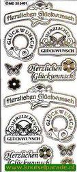 Stickervel transparant goud Herzlichen Glückwunsch MD354001 (Locatie: ZZ098)
