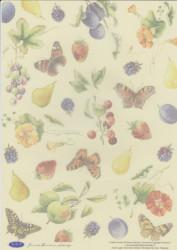 Vellum Janneke Brinkman lichtgeel vlinders/fruit JBS (Locatie: 2444)