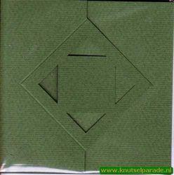 Lomiac kaart vierkant zigzag met ruit groen 3 stuks LC3142 (Locatie: Q031 )
