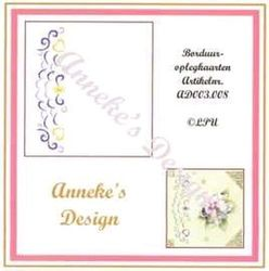 Anneke's Design 3 borduuroplegkaarten + enveloppen wit AD 003 008 (Locatie: H322 )