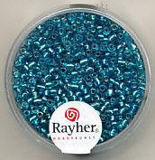 Rayher rocailles 2 mm turquoise met zilverdetail 17 gr. 1406407 (Locatie: K3)