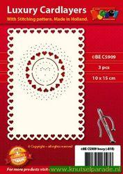 Doodey oplegkaarten met borduurpatroon A6 hartjes 3 stuks ivoor BEC5909 (Locatie: K048)