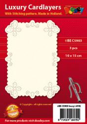 Doodey oplegkaarten met borduurpatroon vlinders ornament 3 stuks ivoor BEC5903 (Locatie: K043)