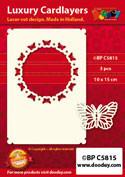 Doodey oplegkaarten vlinder cirkel A6 ivoor 3 stuks BPC5815 (Locatie: K063)