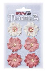 Florella, bloemen, roze, 6 stuks, 3.5 cm, 3866052