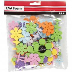 Foam stickers bloemen, dikte 2 mm, 100 stuks (Locatie: K3)