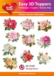 Hearty Crafts Easy 3D Toppers Vintage Roses HC12107