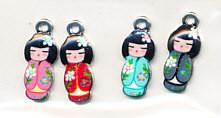 Hobby & Crafting Fun metalen bedels Japanese Dolls 4 stuks 12424-2422 (Locatie: K3)