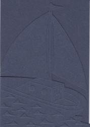 Hobbypapier, 3x donkerblauwe dubbele kaart boot, 3x envelop (Locatie: gg001)