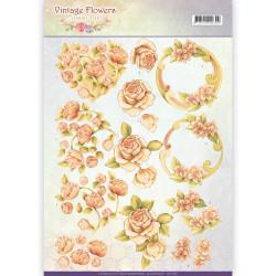 Jeanine's Art knipvel vintage flowers CD11045 (Locatie: 5546)
