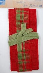 Joy Crafts jute ribbon set red-green tartan-green 6300 0502 (Locatie: )