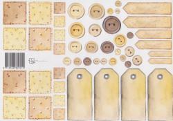 Knipvel Marjoleine Labels en knopen geel (Locatie: 1423)