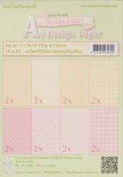 Le Crea Design, design paper, pink & ochre, A5 51.9692 (Locatie: s2)