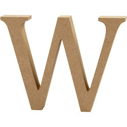 Letter W, hoogte 13 cm, dikte 2 cm, MDF, 1stuk (Locatie: KB)