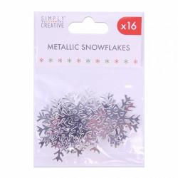 Simply Creative metallic sneeuwvlokken zilver, 16 stuks