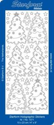 Starform stickervel kerstbomen transparant glitter goud 7071 (Locatie: C267)
