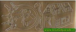 Stickervel goud huis met sleutels (Locatie: G169)